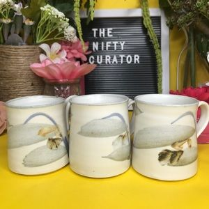 Set of Handcrafted Clay Mugs